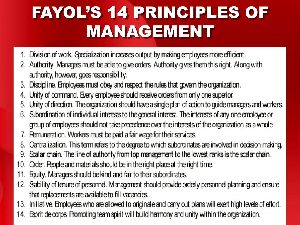 fayols principle of management Henri fayol developed fourteen principles of management in 1916 that organisations are recommended to apply to order to run properly this paper will show how some of fayols principles are still demonstrated today in the military environment to which i work.