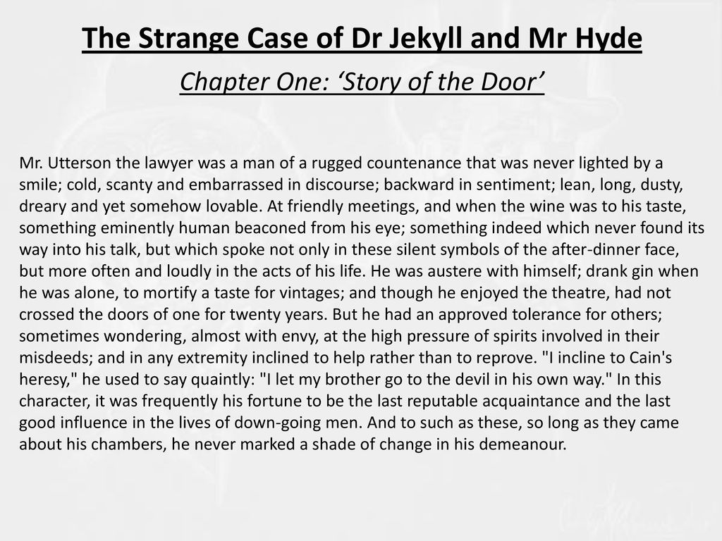 the strange case of dr jekyll and mr hyde 7 essay Robert louis stevenson's the strange case of dr jekyll and mr hyde is a novel which is arguably entirely about duality the most obvious example is of course that of the contrast between jekyll and hyde themselves, but underneath that is a.