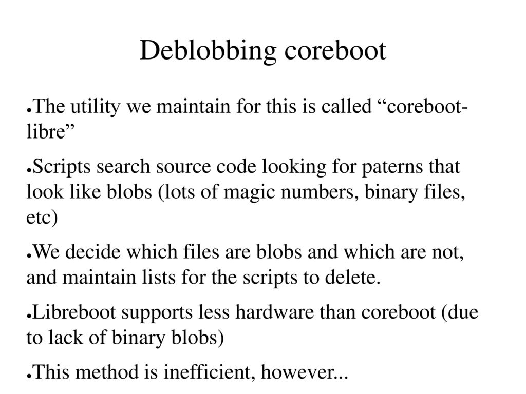 Libreboot Free boot firmware for ARM, POWER and x86 - ppt