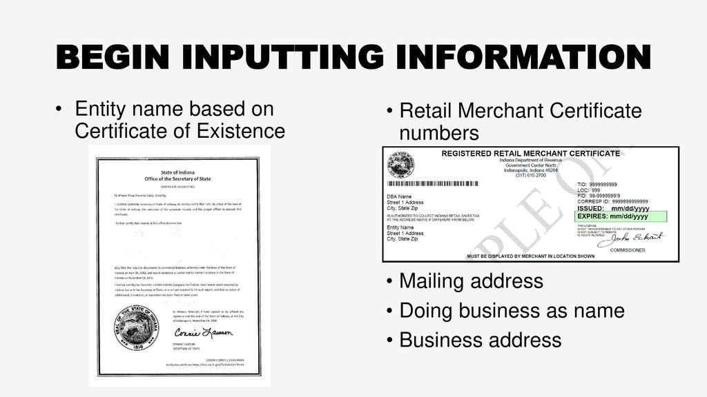 Lujo Indiana Retail Merchant Certificate Imágenes - Certificado ...