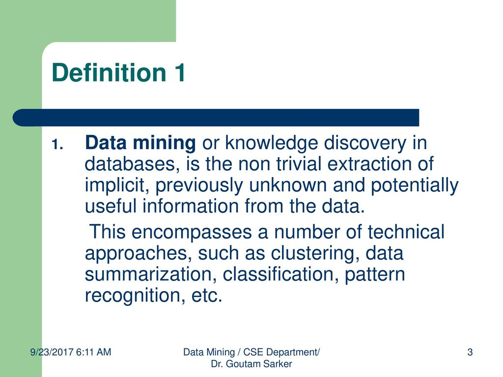 chapter 2: data mining dr. goutam sarker, - ppt download