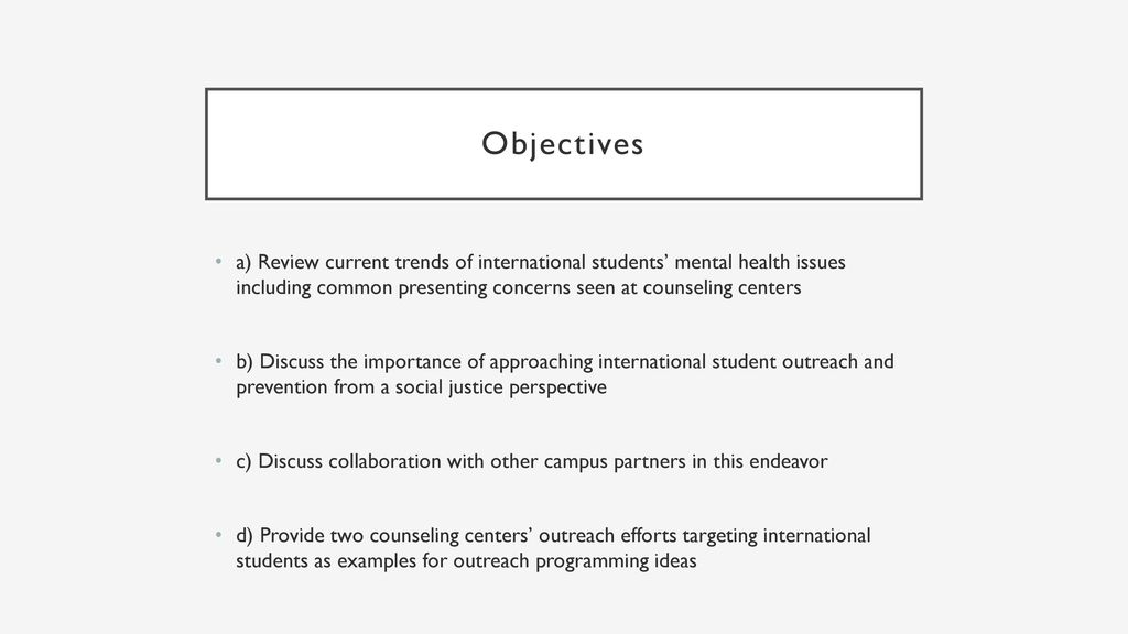 International Student Outreach From A Social Justice Perspective