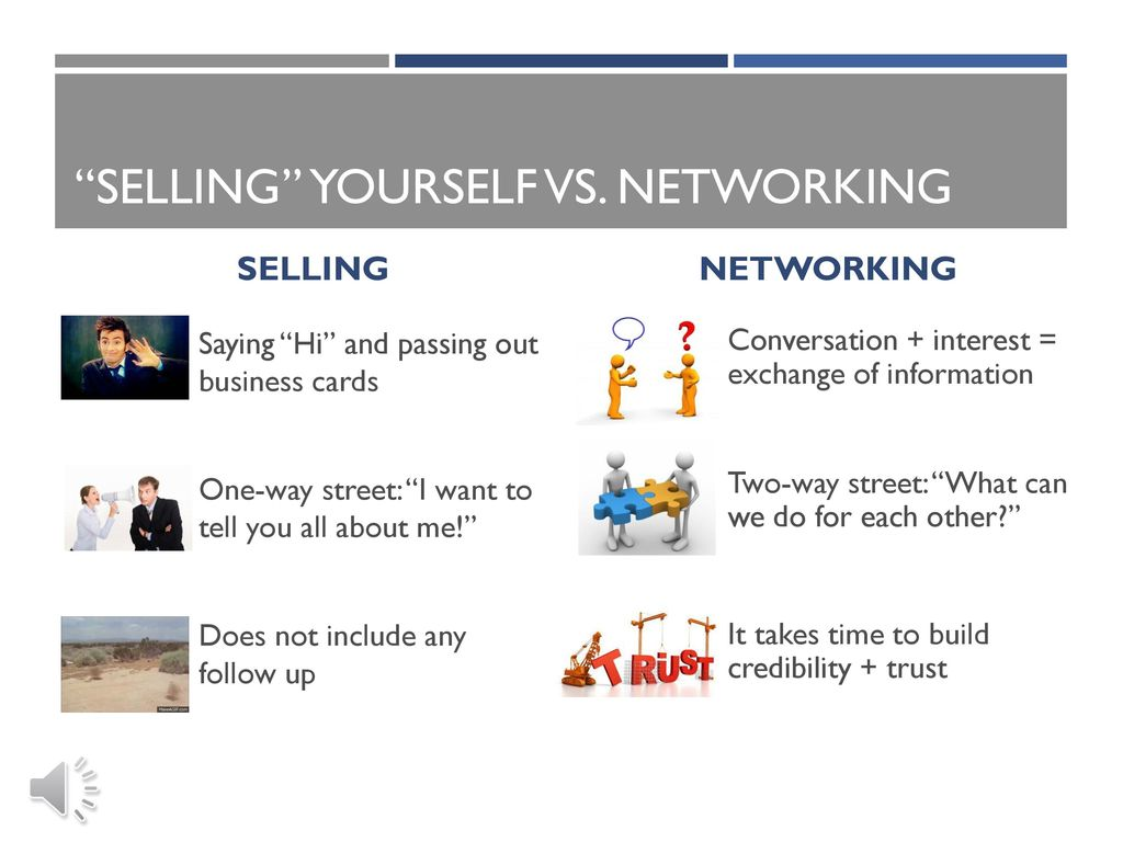 Networking 101 in person and online ppt download selling yourself vs networking reheart Gallery