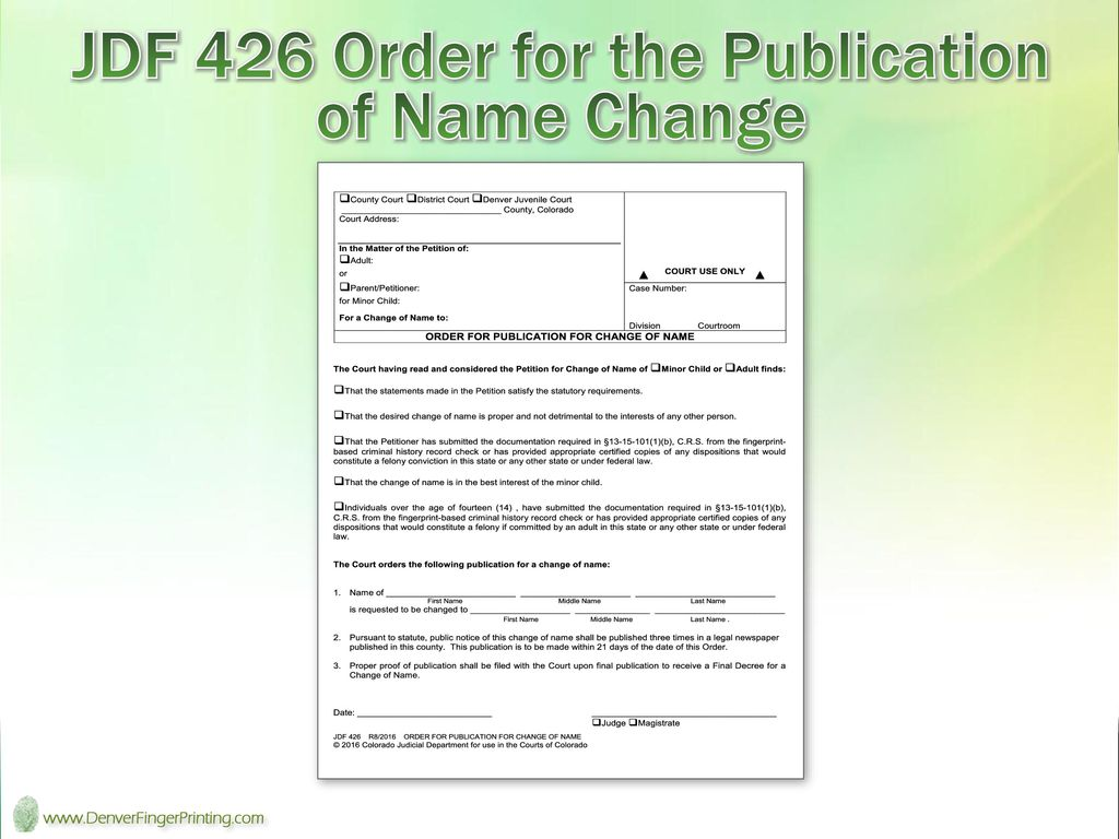 Colorado Name Changes and other Identity Documents - ppt video