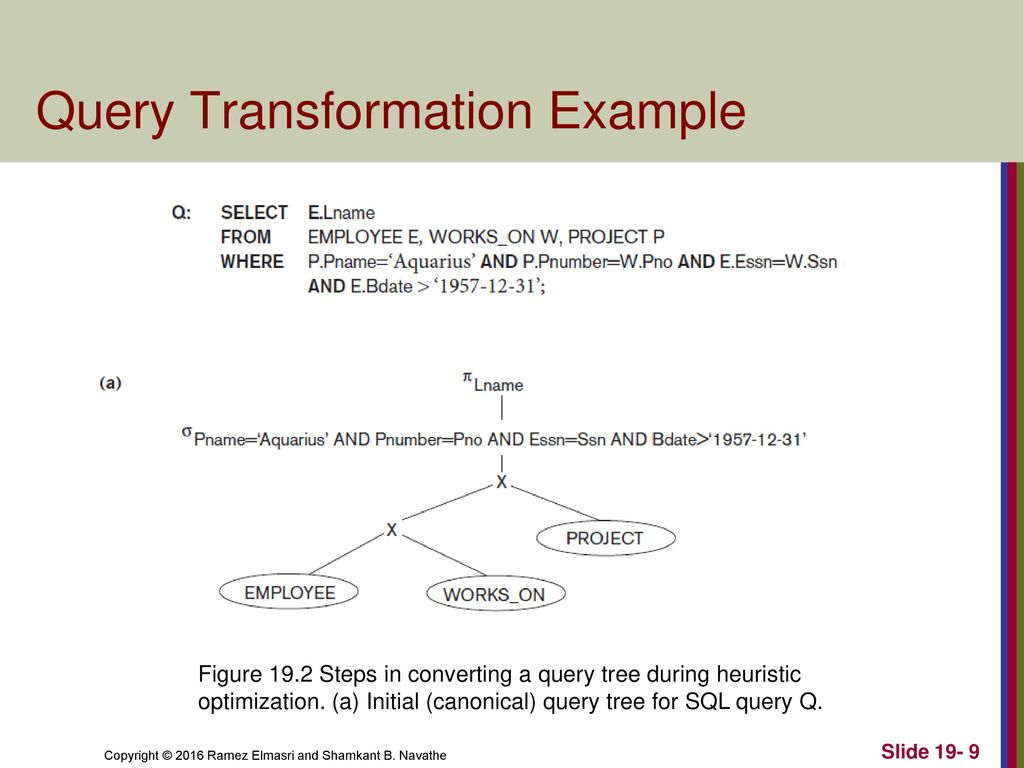 CHAPTER 19 Query Optimization  CHAPTER 19 Query Optimization