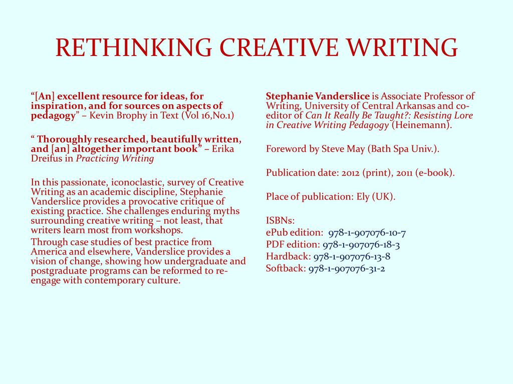 reforming creative writing pedagogy Summary: stephanie vanderslice, director of the great bear writing project, along with educators cathy day and anna leahy, discusses creative writing pedagogy and how it fits into the educational landscape.