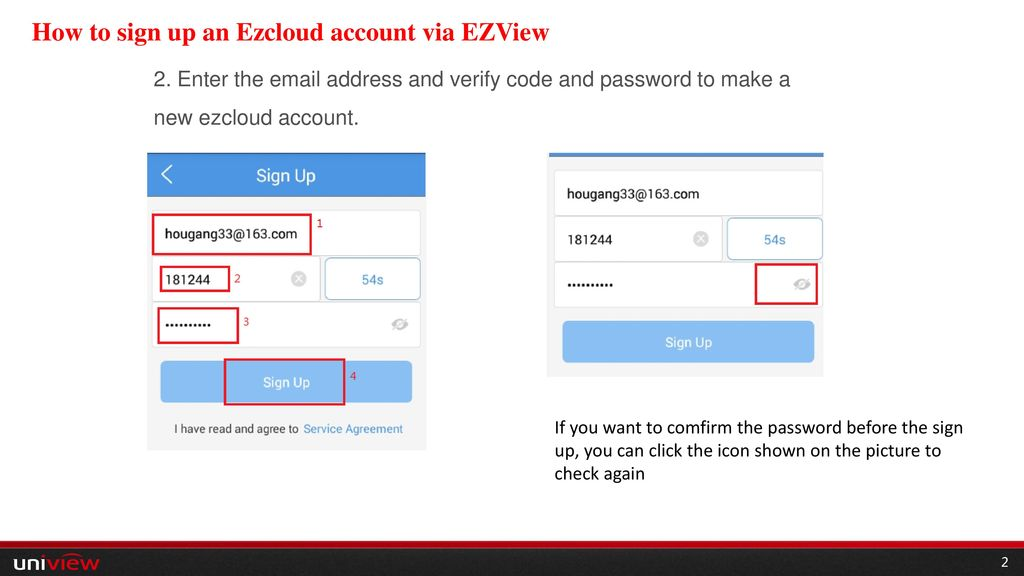 How to sign up an Ezcloud account via EZView - ppt video