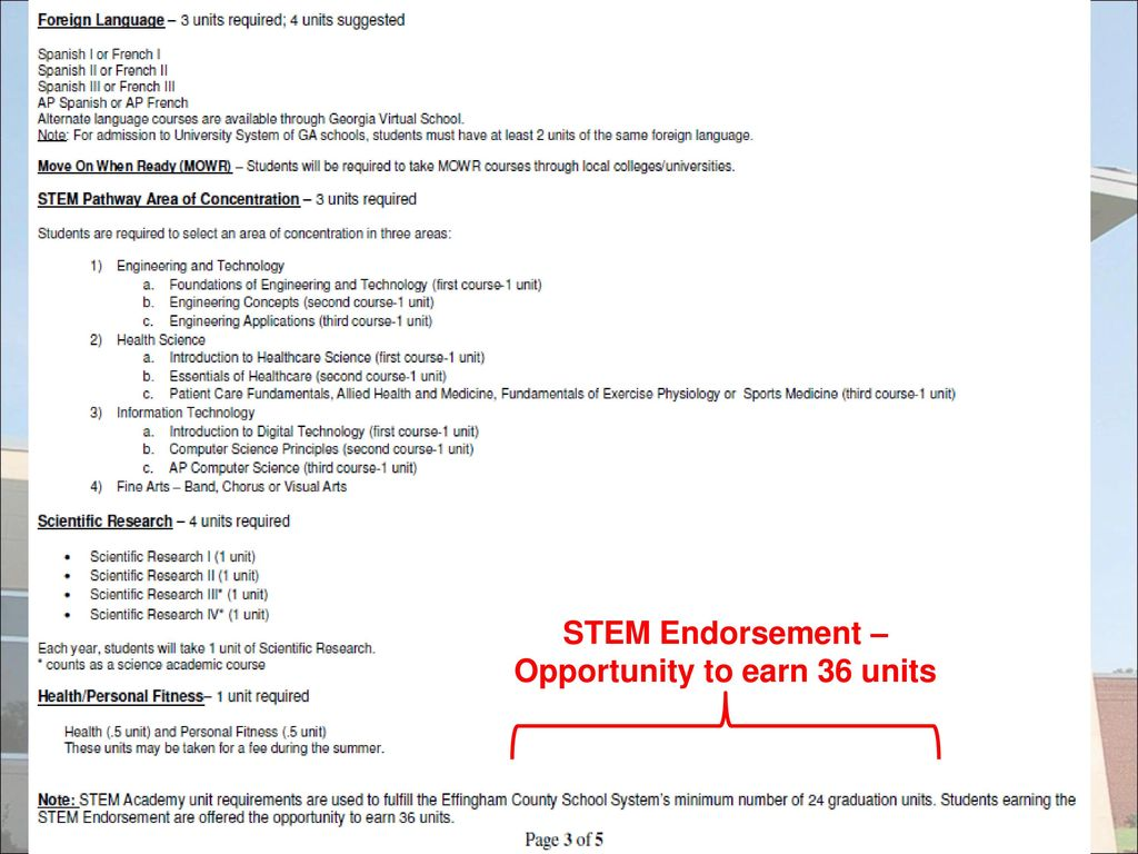 26 STEM Endorsement – Opportunity to earn 36 units