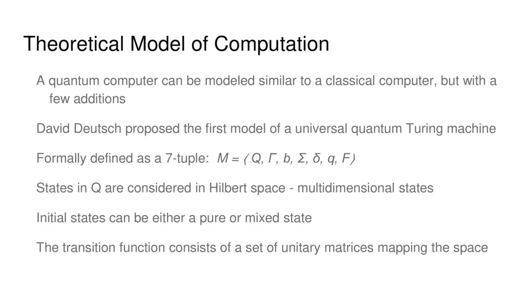 Quantum Computing - A new computation model? - ppt download