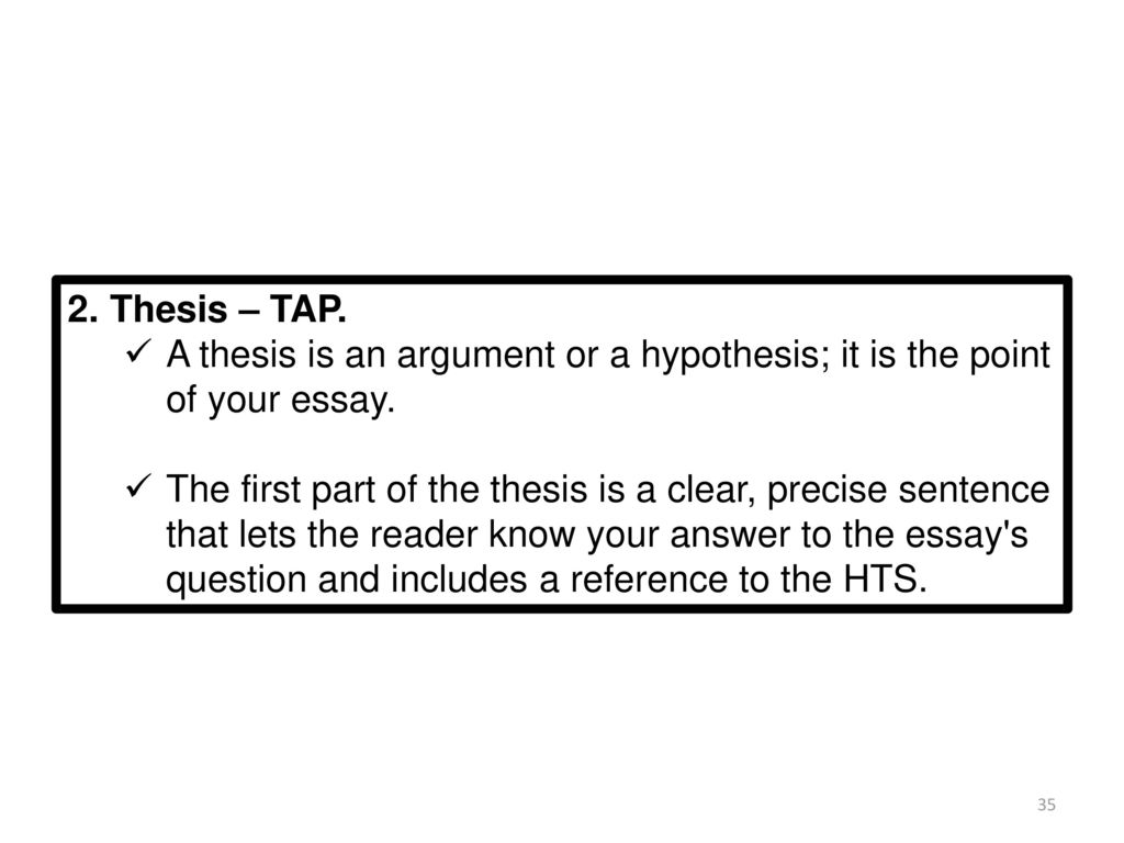 High School Argumentative Essay Topics Thesis  Tap A Thesis Is An Argument Or A Hypothesis It Is The Compare And Contrast Essay Papers also Persuasive Essay Sample Paper The Long Essay Question Leq  Ppt Download Essay Writing Topics For High School Students
