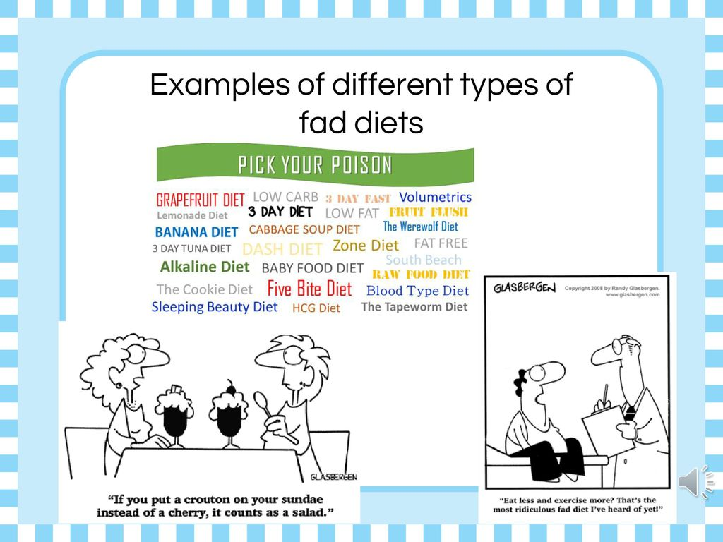 Examples of different types of fad diets