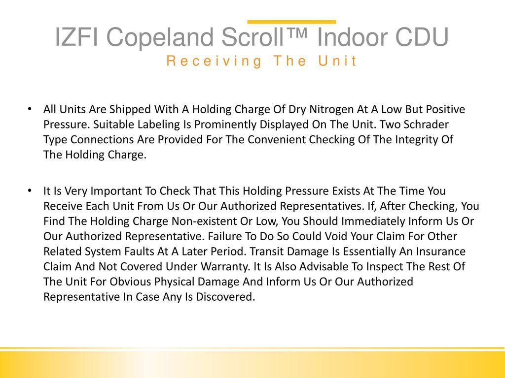 IZFI Condensing Unit Installation & Commissioning  - ppt
