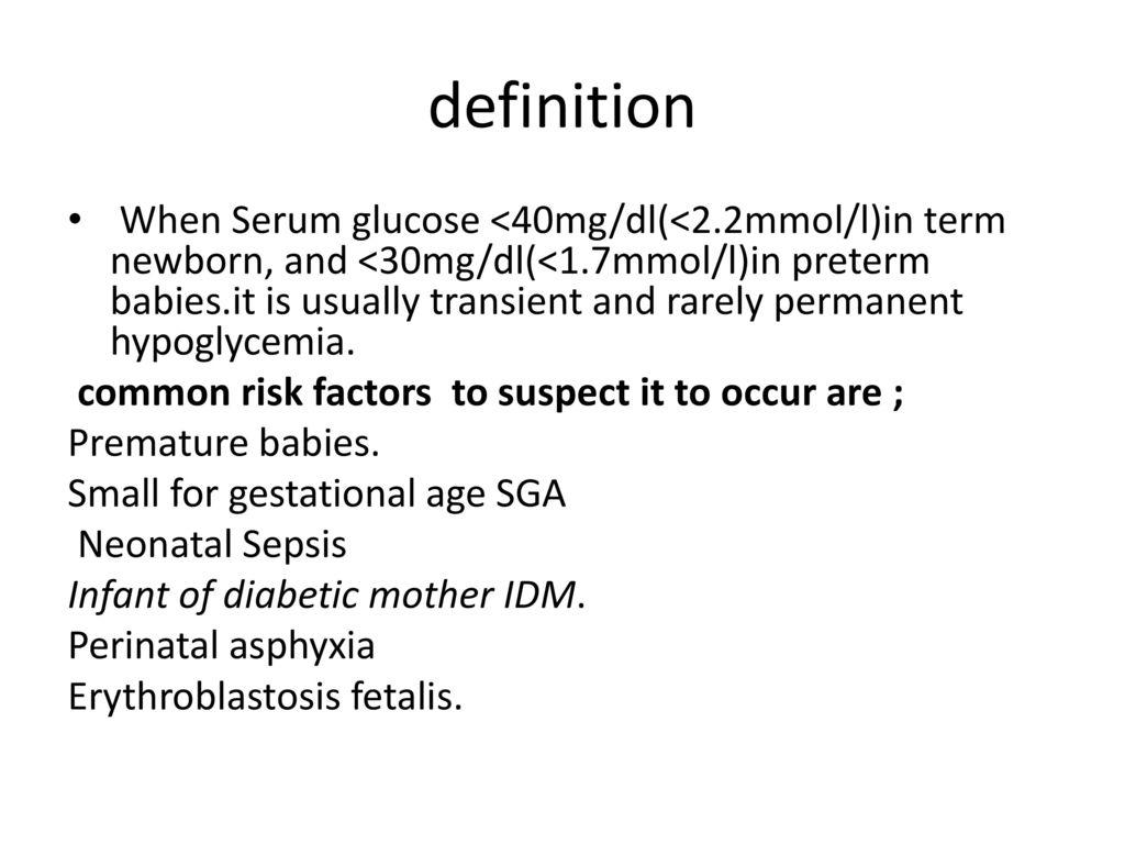 Neonatal hypoglycemia - ppt video online download
