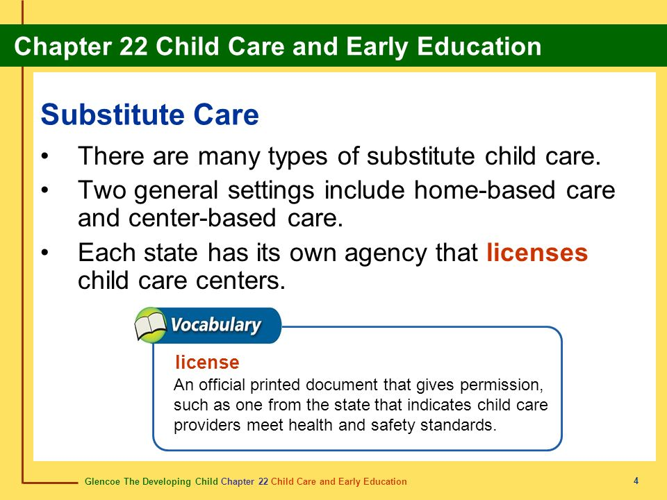 Substitute Care There are many types of substitute child care.
