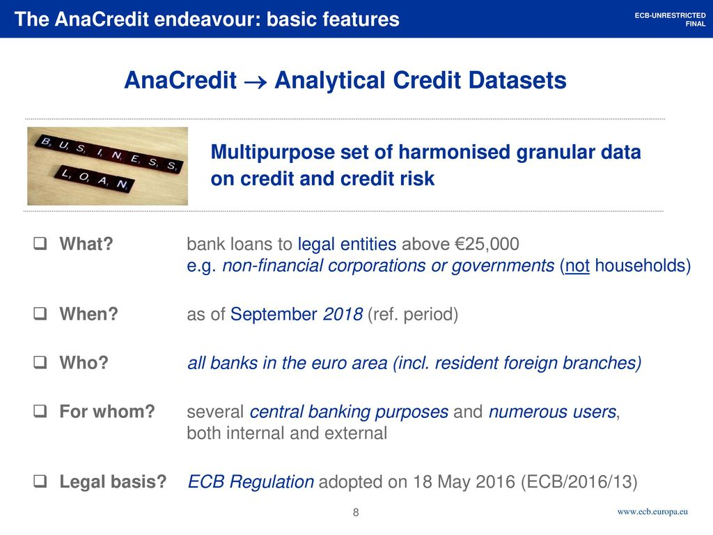 AnaCredit A zoom lens at credit and credit risk in the euro