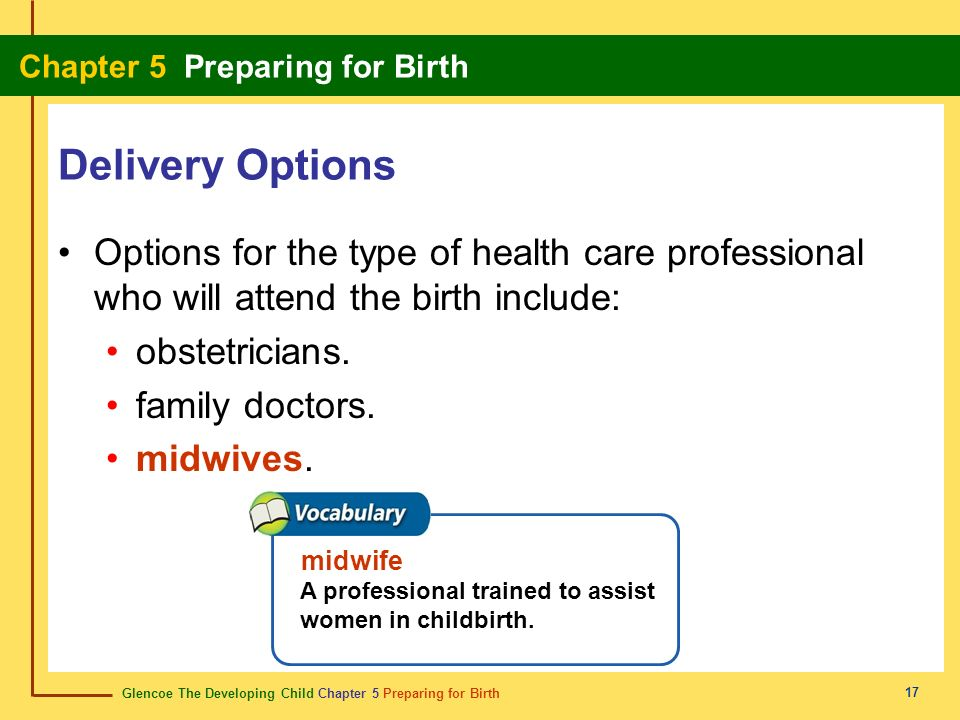 Delivery Options Options for the type of health care professional who will attend the birth include: