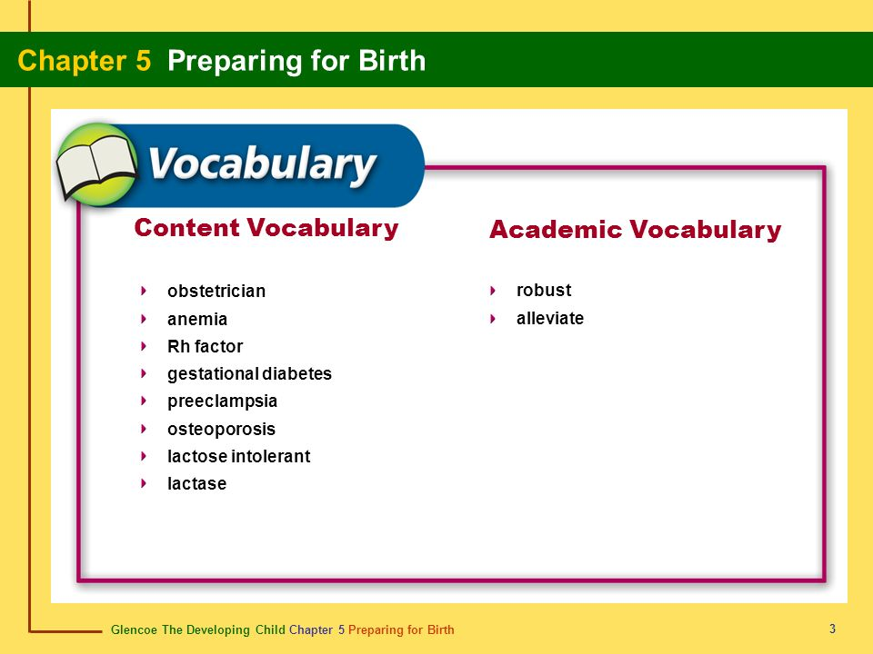 Content Vocabulary Academic Vocabulary obstetrician anemia Rh factor