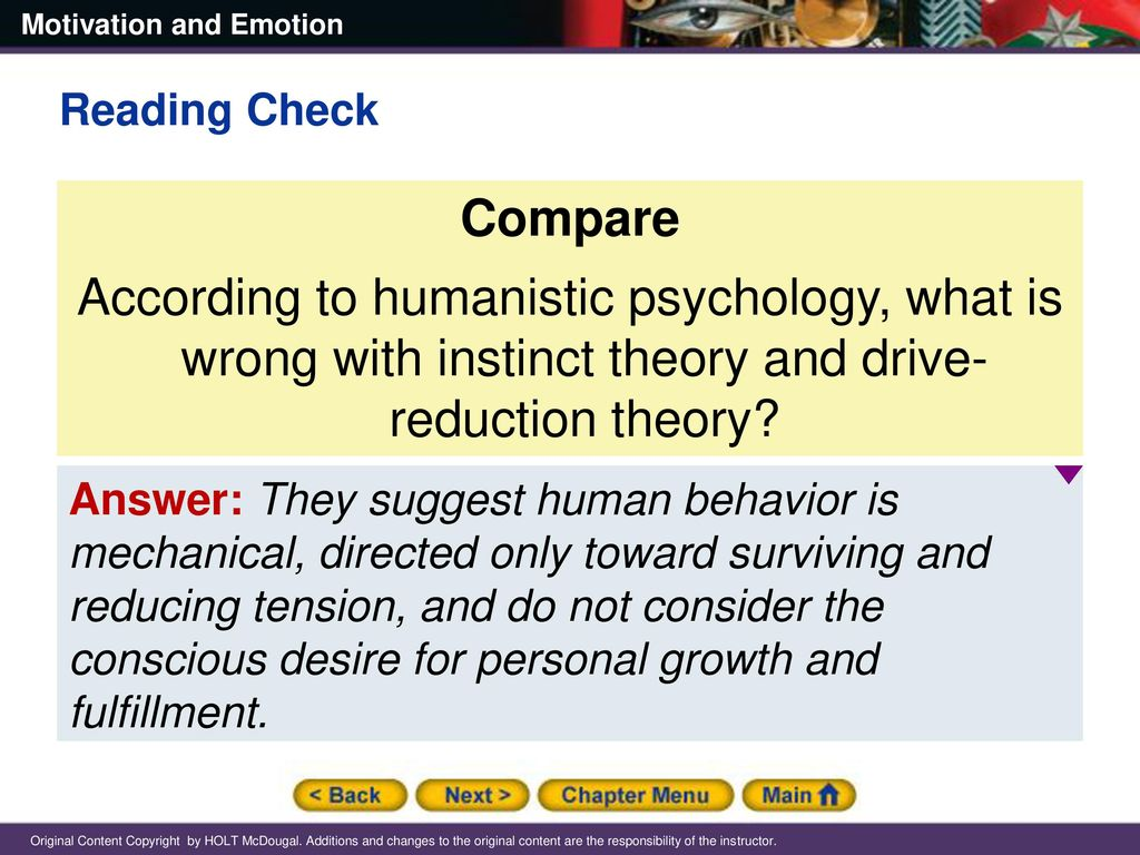 13 Reading Check Compare According to humanistic psychology ...