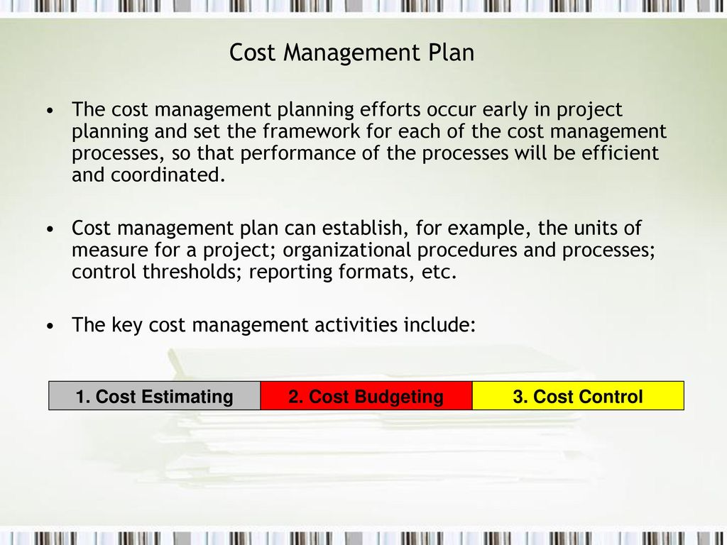 Cost Management Plan Example from slideplayer.com
