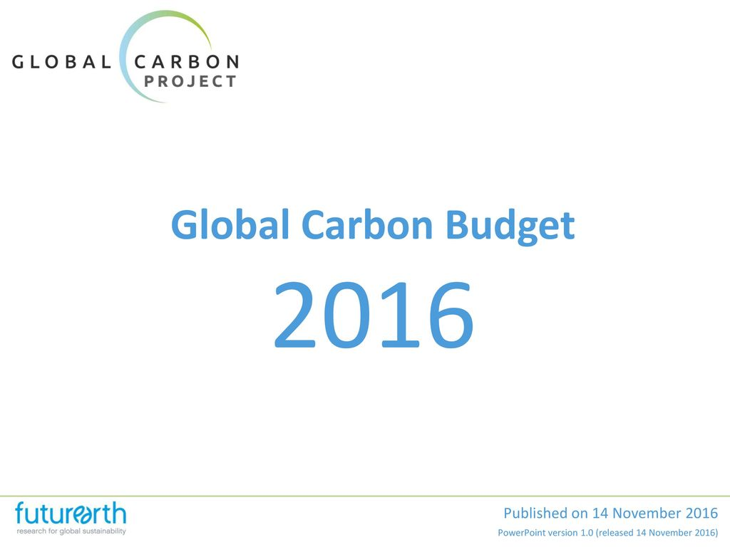 2016 Global Carbon Budget Published on 14 November 2016