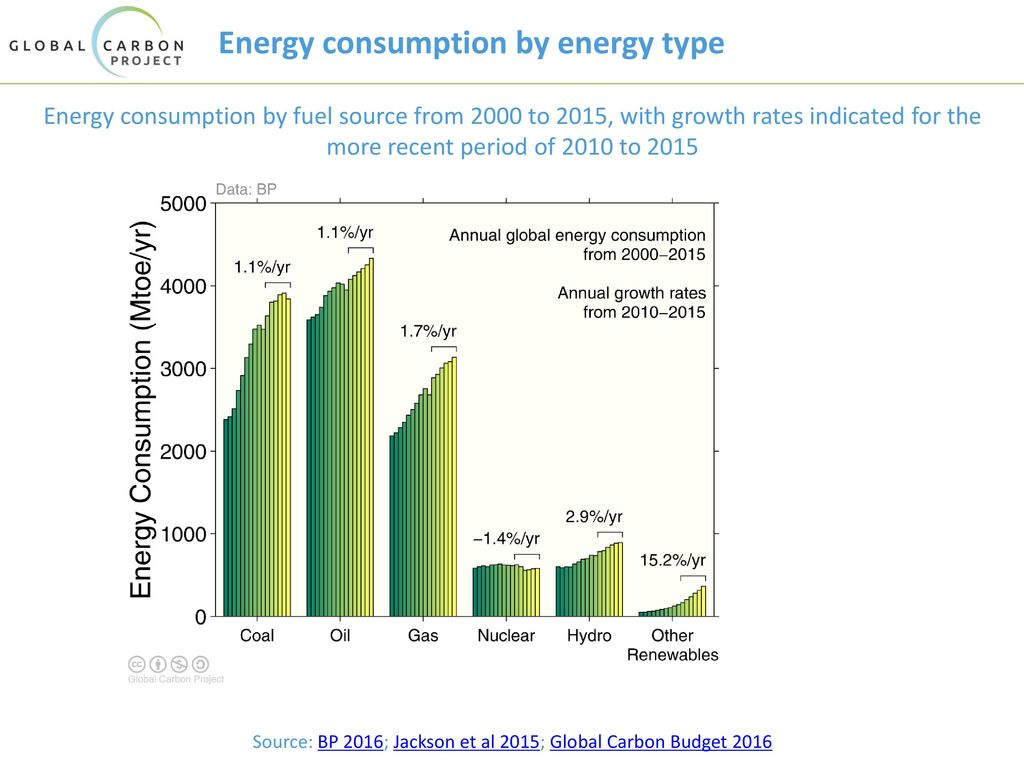 Energy consumption by energy type