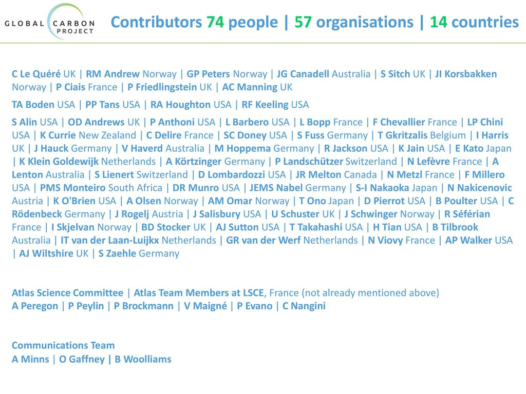Contributors 74 people | 57 organisations | 14 countries