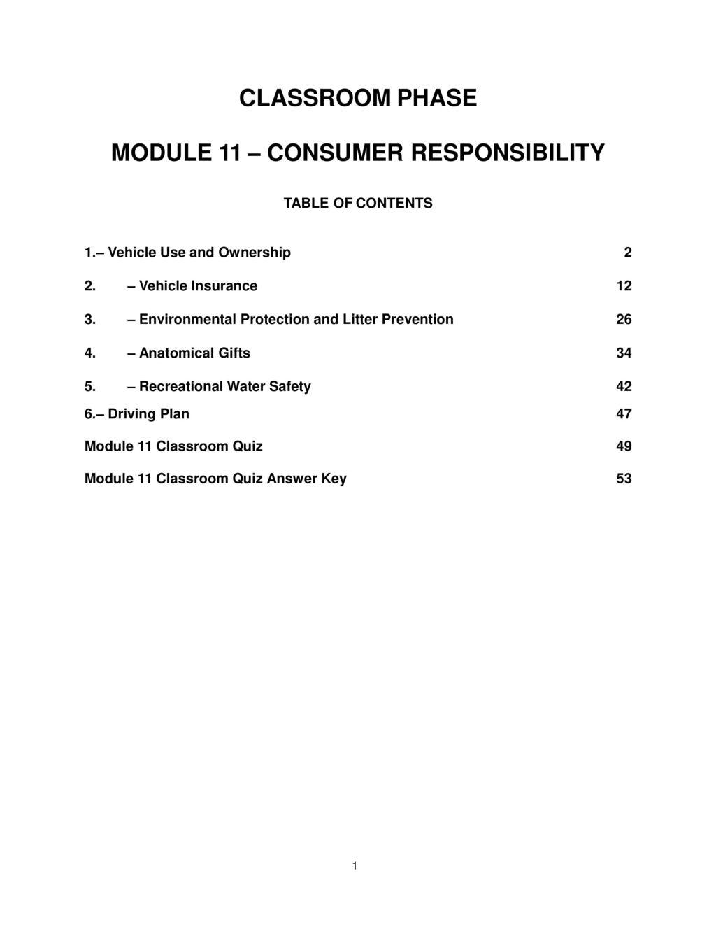 MODULE 11 – CONSUMER RESPONSIBILITY