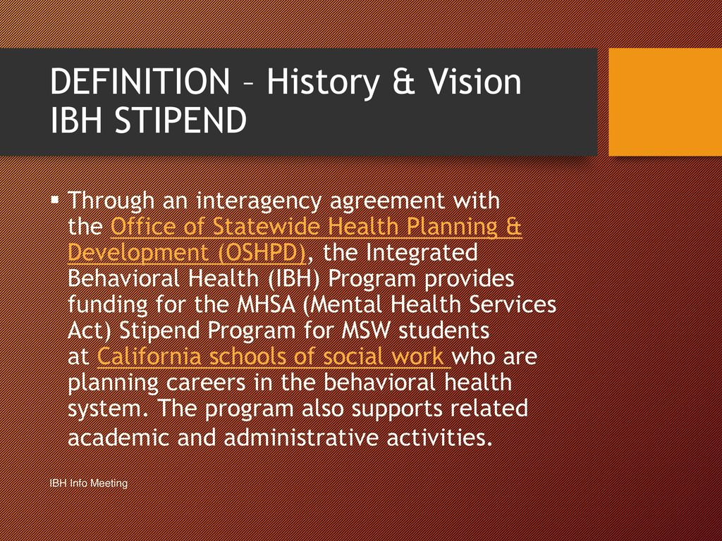 Integrated Behavioral Health Stipend Program Information Meeting