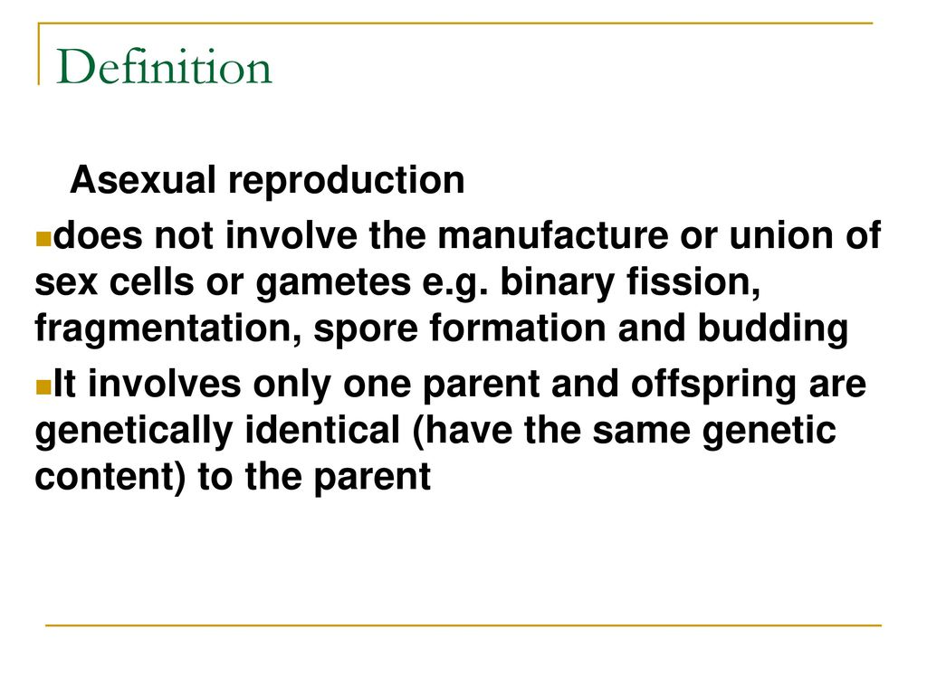 Define spore formation in asexual reproduction one parent