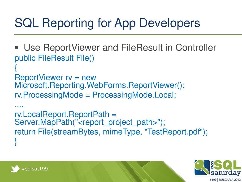 Windows Azure SQL Reporting for App developers - ppt video online