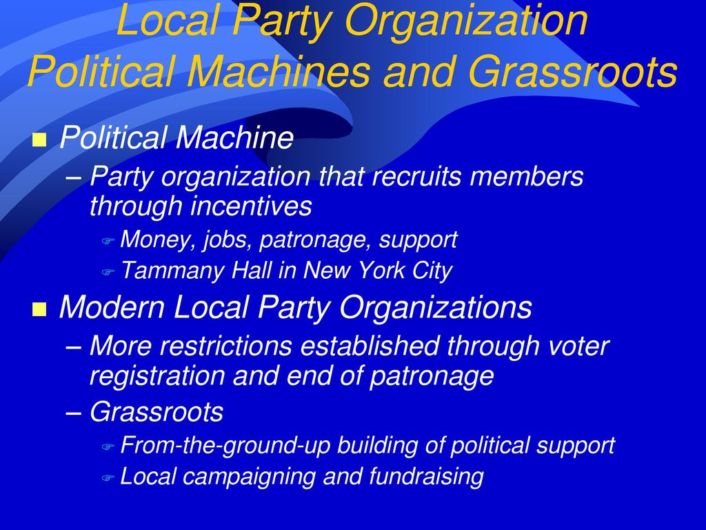 A political party is an organization. Modern political parties 77