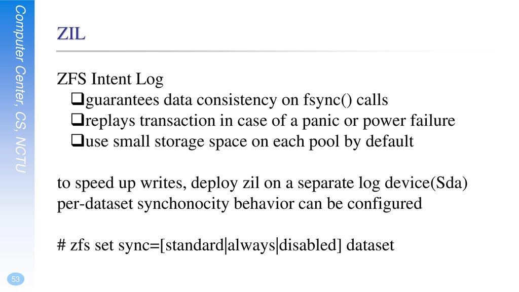 Zfs Sync Disabled