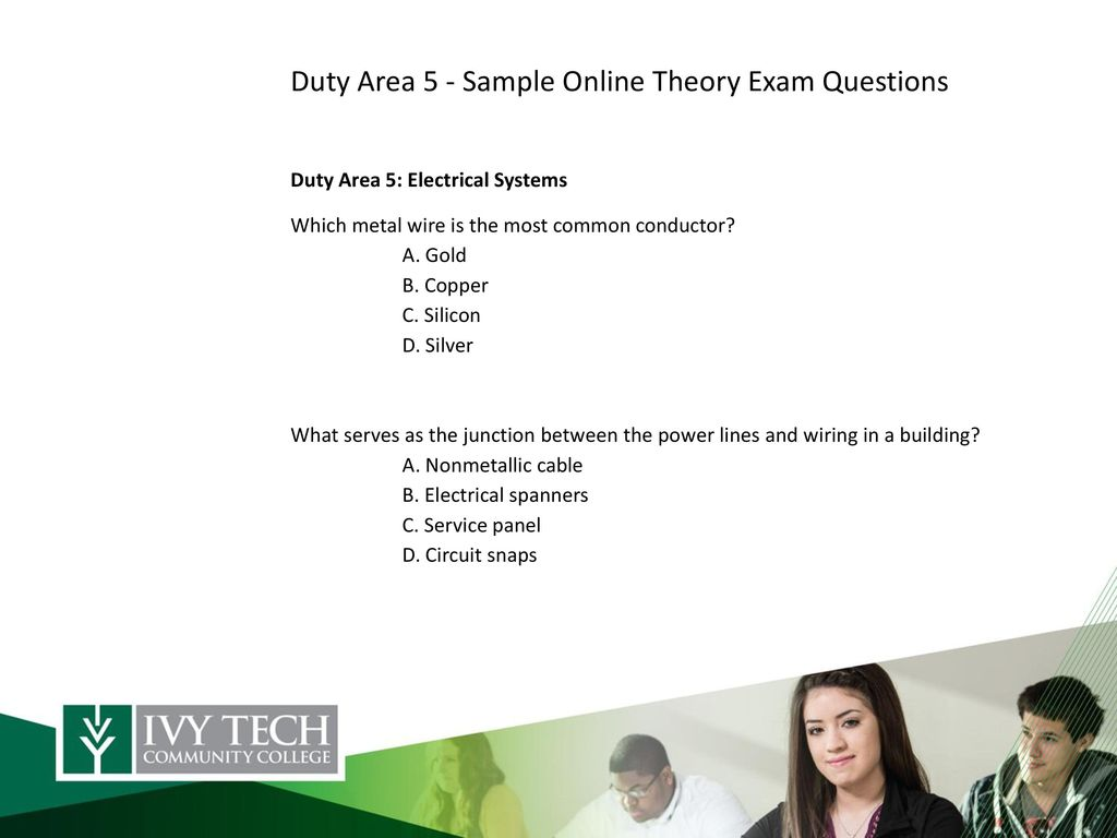 Presenters Contact Information Sue Smith Vp Technology Division Electrical Wiring Test Questions Duty Area 5 Sample Online Theory Exam