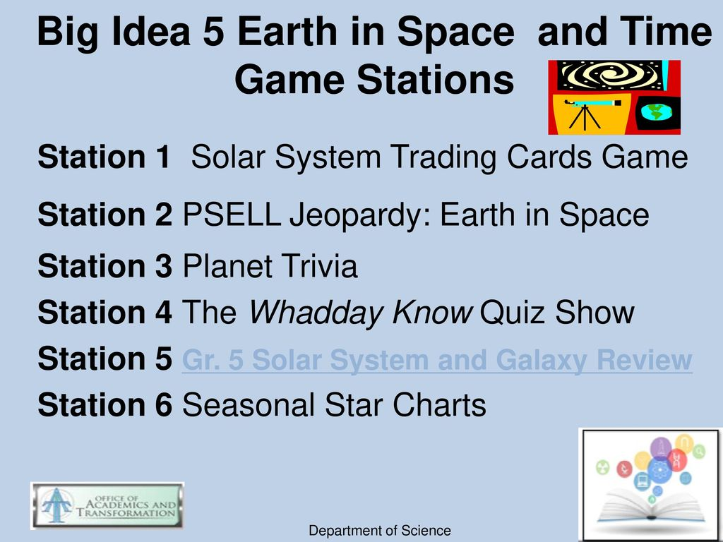 Big Idea 5 Earth in Space and Time Game Stations