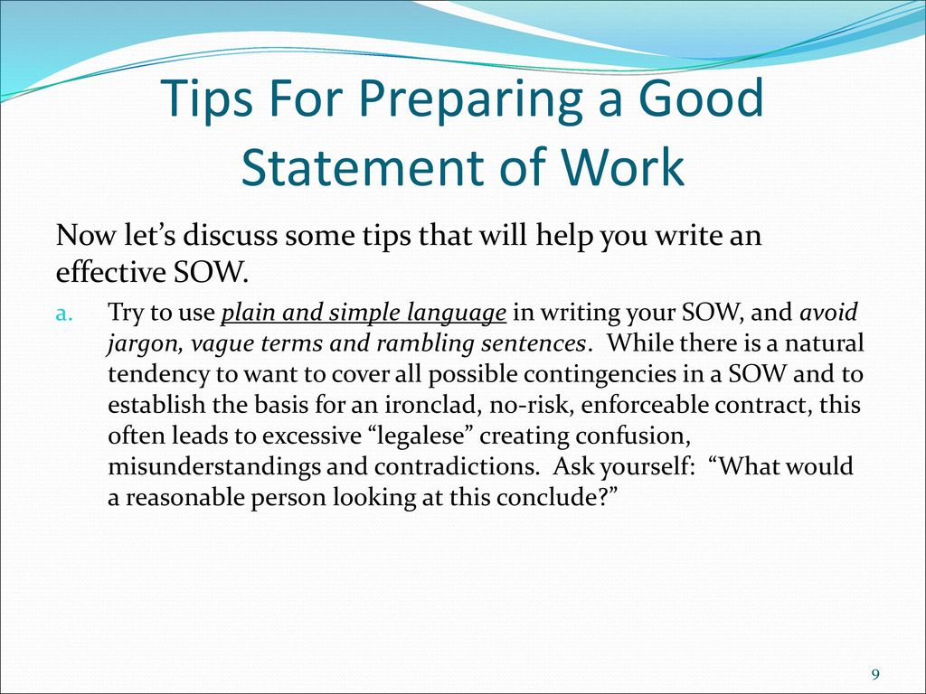 tips for preparing a good statement of work