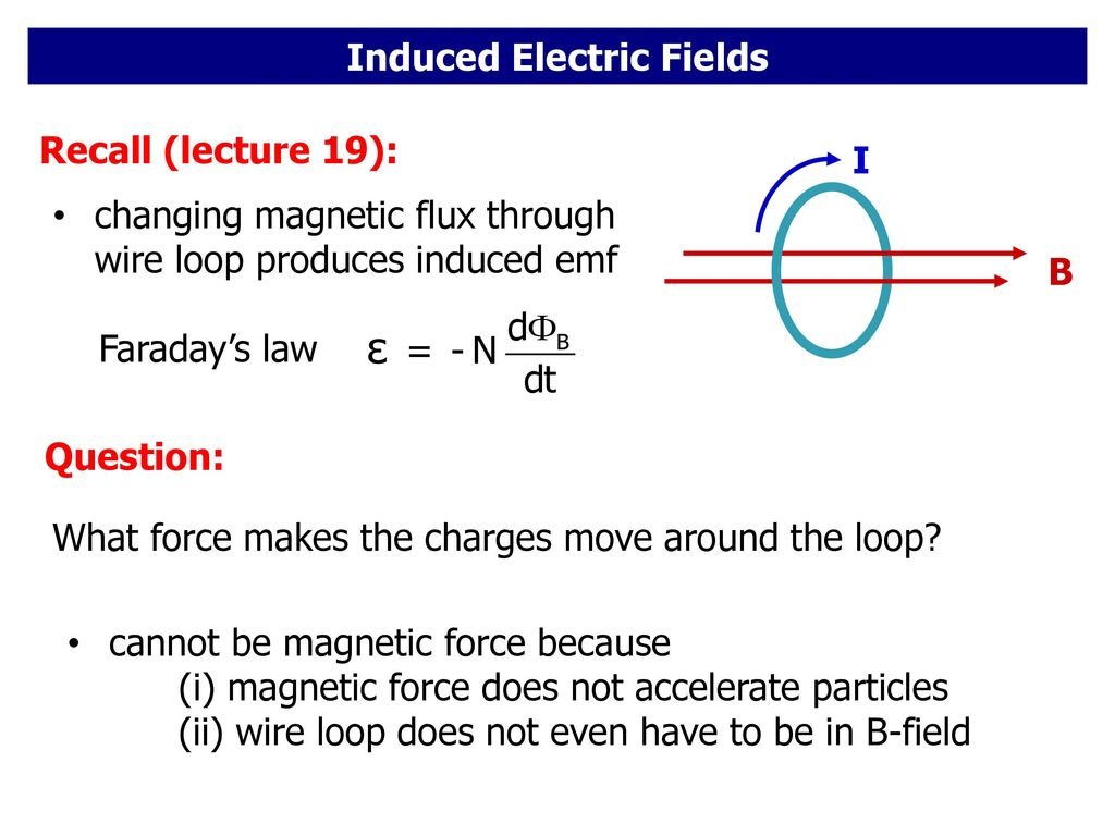 Induced Electric Fields. - ppt download
