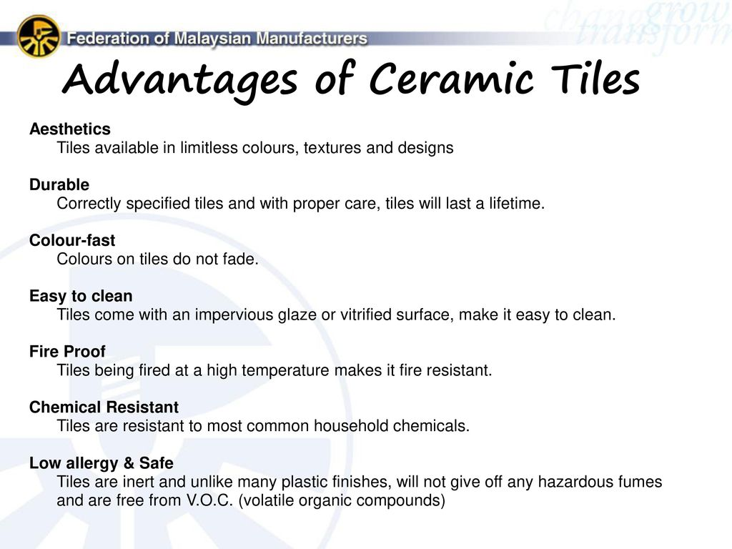 advantages of tiles fmm malaysian ceramic industry mcig ppt 189