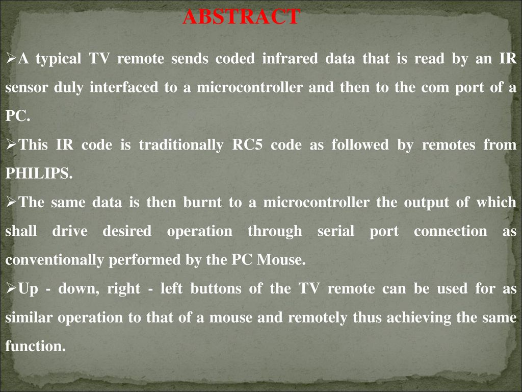 Using Tv Remote As A Cordless Mouse For The Computer Ppt Download Rs232 Wiring Diagram 2 Abstract