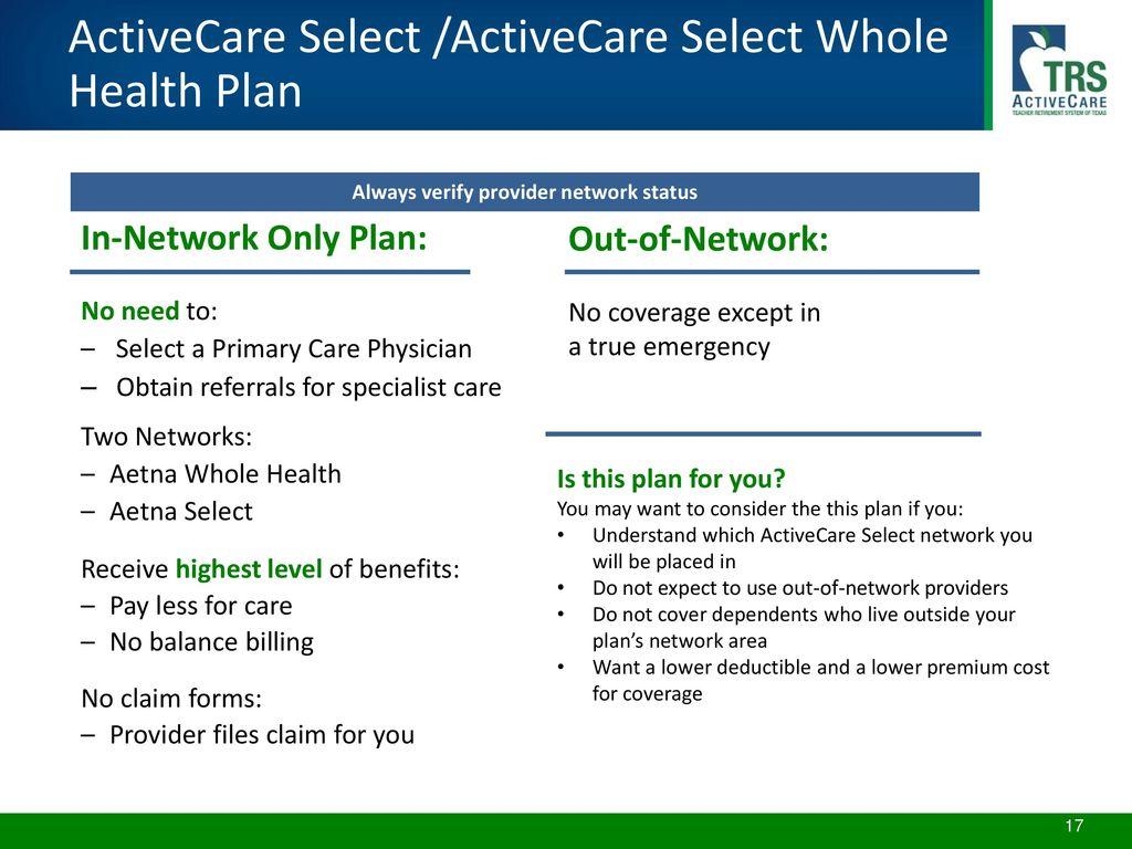 Agenda TRS-ActiveCare Program Highlights Health Plan Options