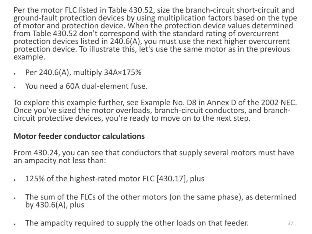 Grounding Etc Ppt Download Protection From The Shortcircuit And Groundfault Device 37 Per Motor Flc Listed In Table 430 Size Branch Circuit Short Ground Fault Devices
