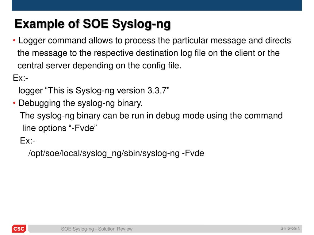 Overview Soe Syslog Ng Ppt Download