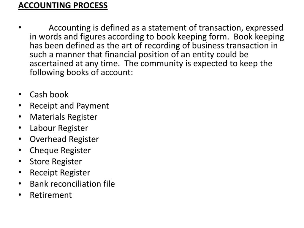 simple accounting record for community micro project ppt download