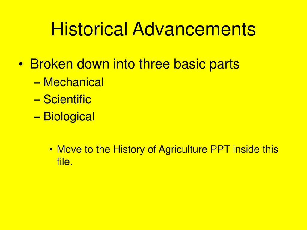 unit 1 introduction how have the advancements in agriculture led to