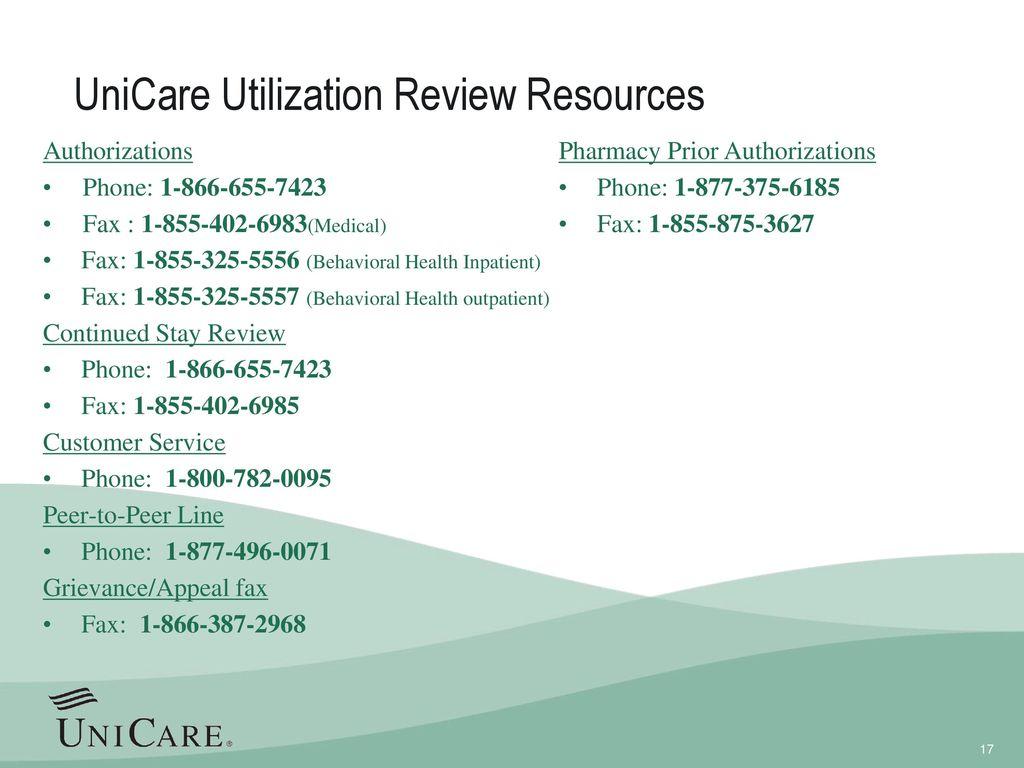 UniCare Utilization Review Resources