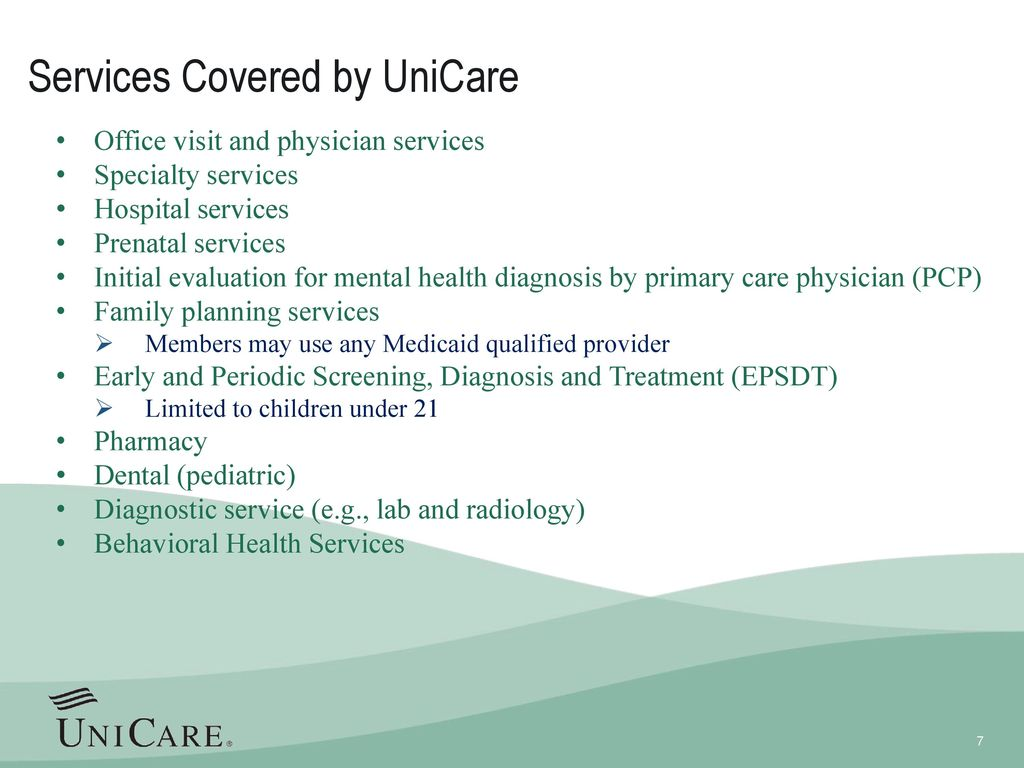 Services Covered by UniCare