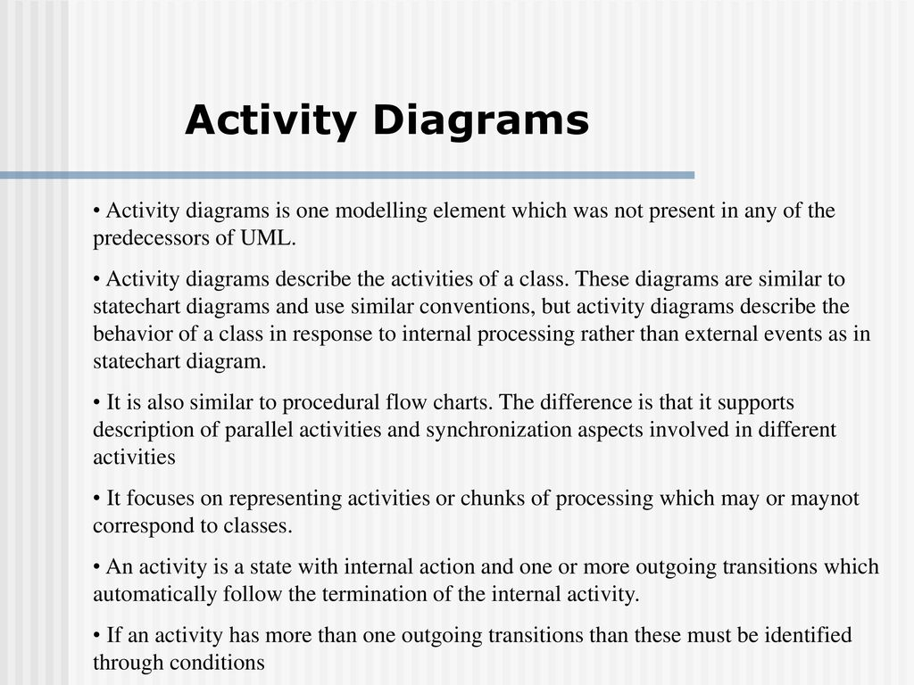 Uml an overview ppt download activity diagrams activity diagrams is one modelling element which was not present in any of the ccuart Image collections