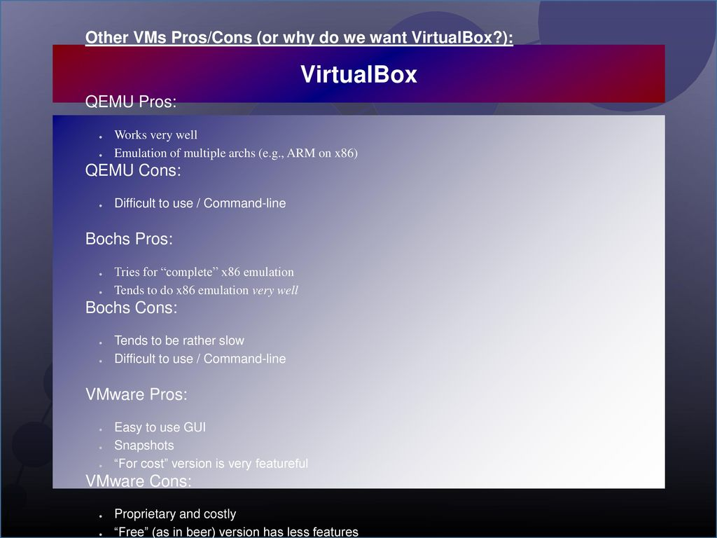 VirtualBox Introduction: