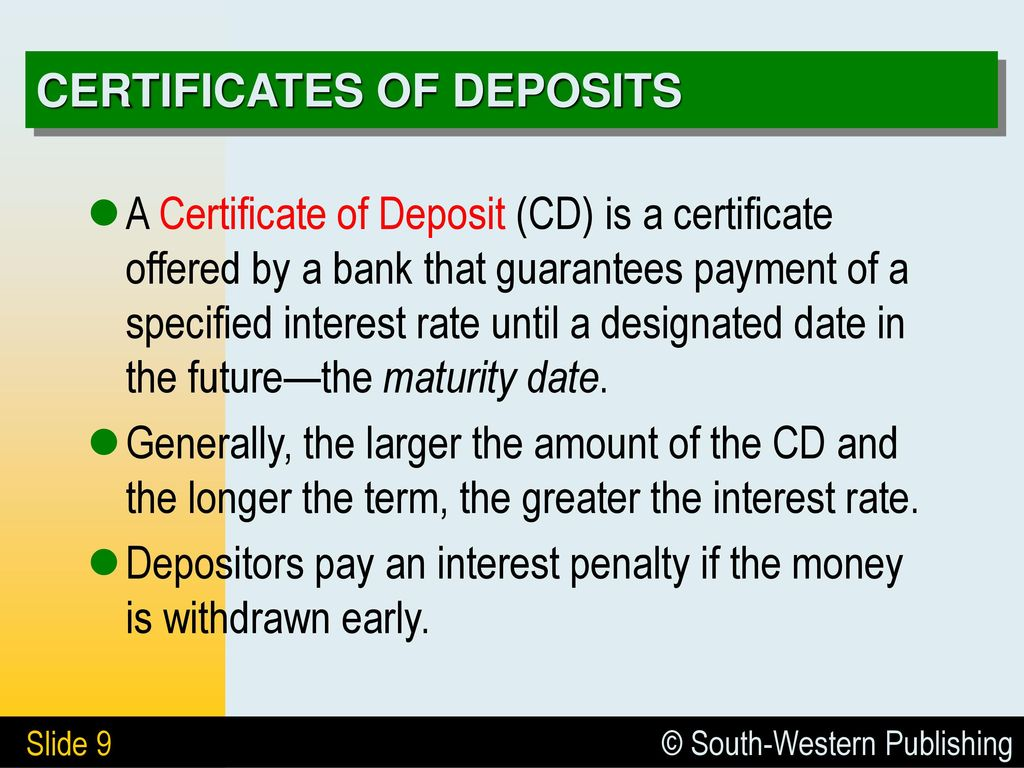 4 Deposits In Banks 41 Deposit Accounts 42 Interest Bearing