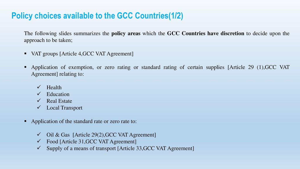 Highlights Of Gcc Vat Treaty And Reasons For Implementing Vat In Gcc