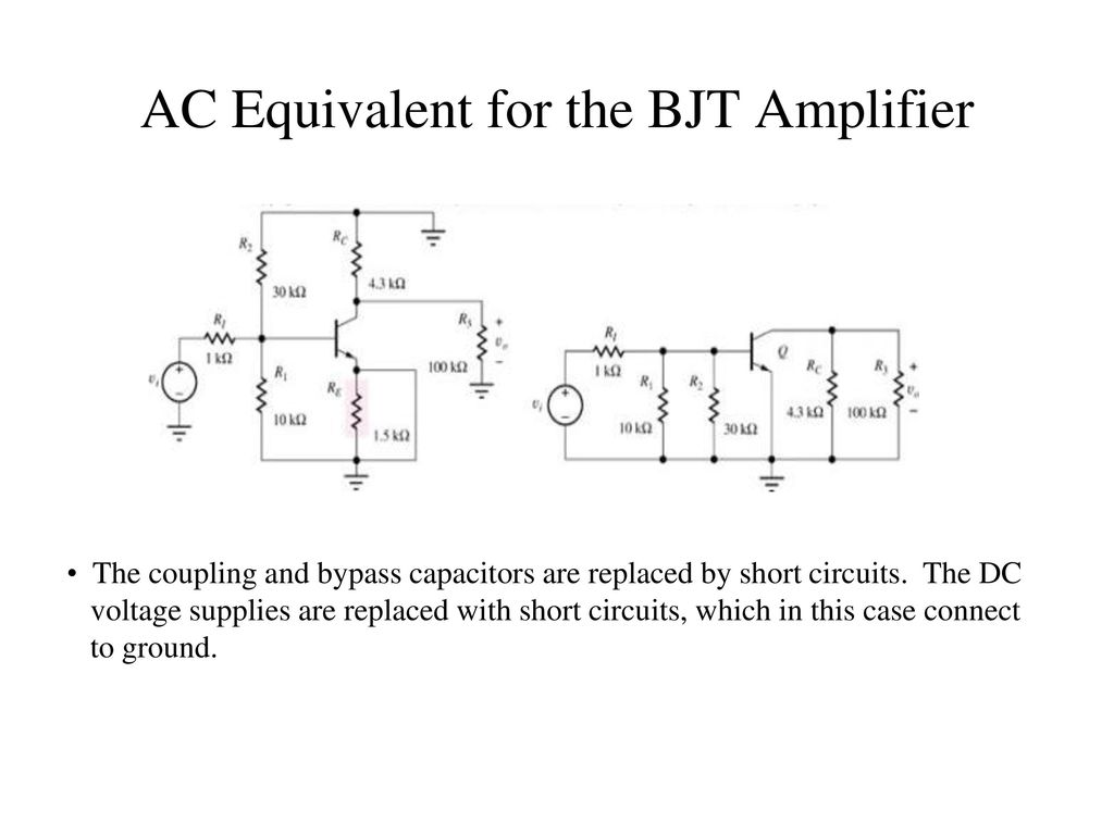 Chapter 13 Small Signal Modeling And Linear Amplification Ppt How To Place A Coupling Capacitor In Circuit Ac Equivalent For The Bjt Amplifier